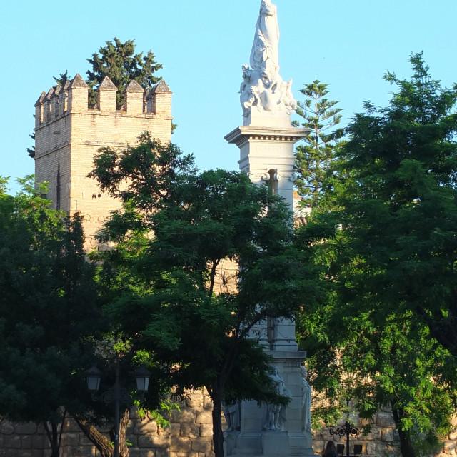 """""""Across Plaza Del Triunfo to the Alcazar"""" stock image"""