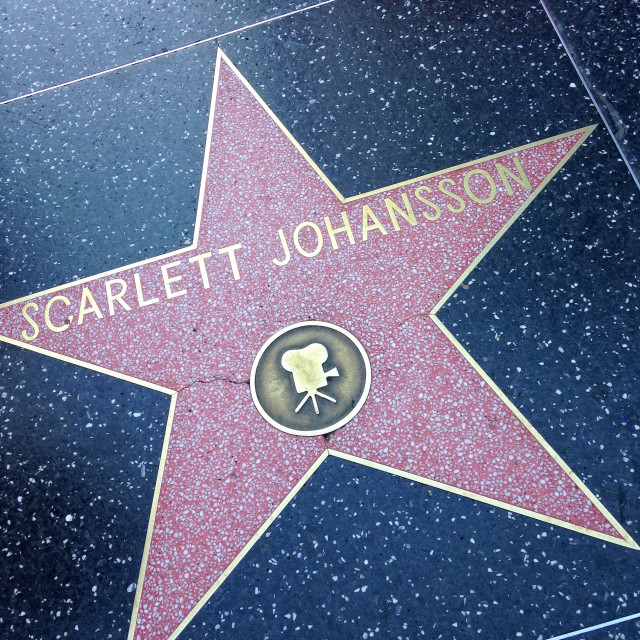 """Scarlett Johansson Hollywood walk of fame star."" stock image"