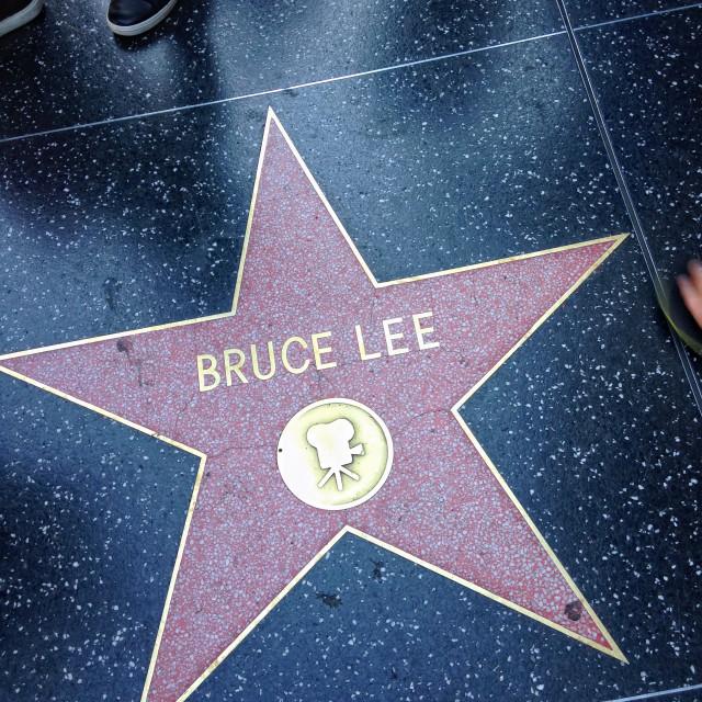 """Bruce Lee Hollywood walk of fame star."" stock image"
