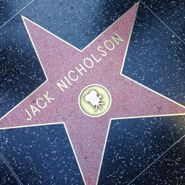 """Jack Nicholson Hollywood walk of fame star."" stock image"