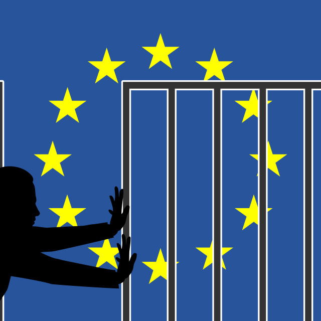 """Open Border for Fortress Europe"" stock image"