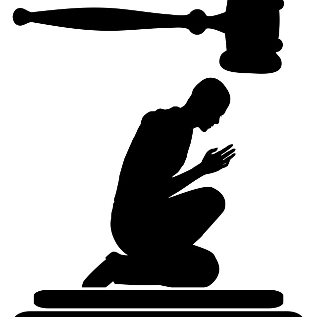"""""""Remorse in Court"""" stock image"""