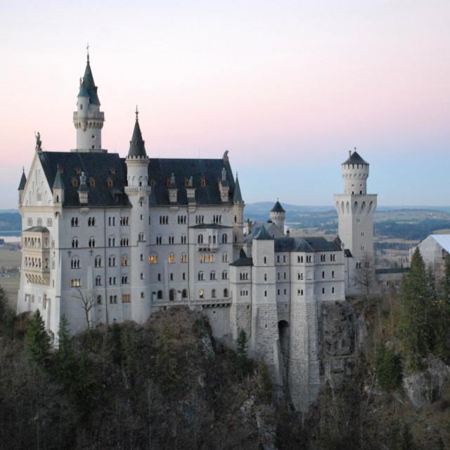 """Neuschwanstein Castle at dusk"" stock image"