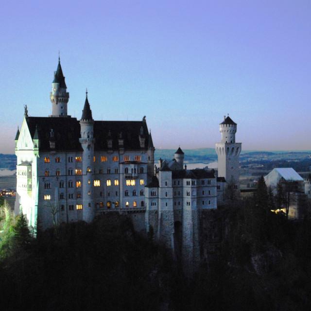 """Neuschwanstein Castle at night"" stock image"