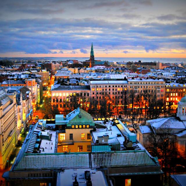"""Helsinki at night"" stock image"