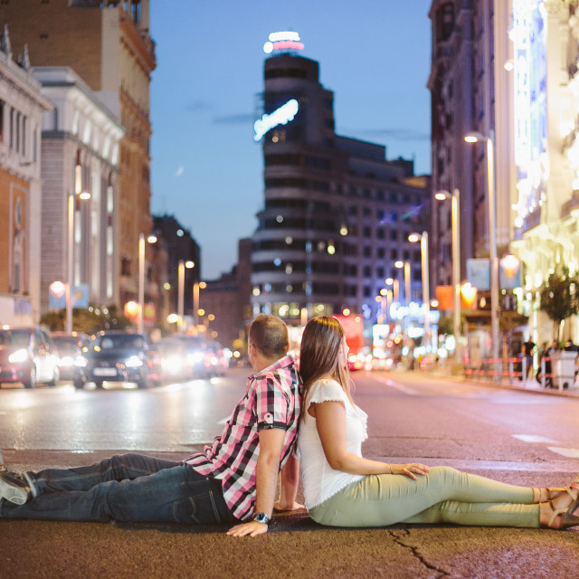 """Couple in Gran Via"" stock image"