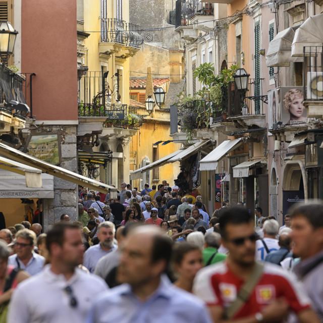 """""""Taormina visitors"""" stock image"""