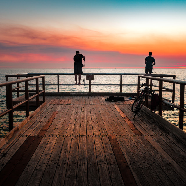 """North Beach Jetty Sunset, Perth City Western Australia"" stock image"