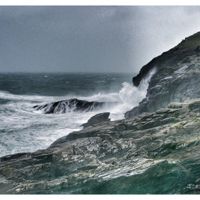 """Waves at Tintagel"" stock image"