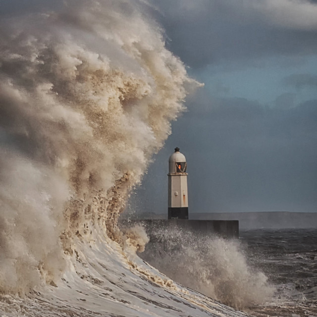 """Hurricane Ophelia hits Porthcawl pier"" stock image"