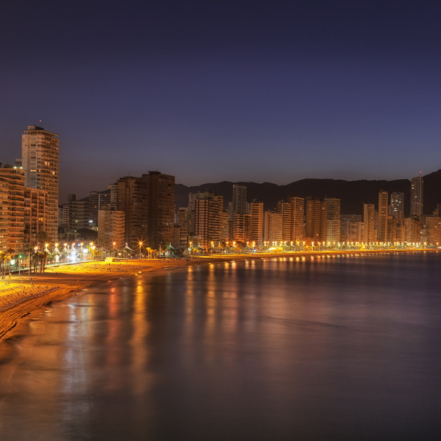 """Benidorm Levante beach at daybreak"" stock image"