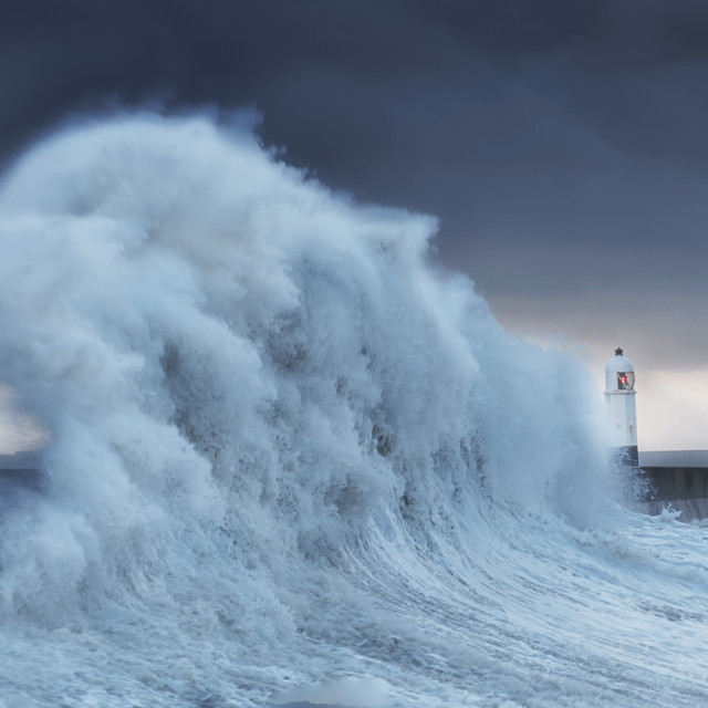 """Hurricane Brian hits Porthcawl"" stock image"