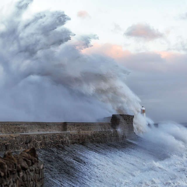 """Hurricane Ophelia hits Porthcawl"" stock image"