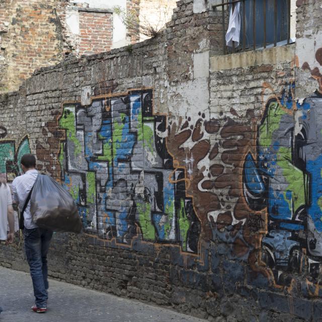 """alte Mauer mit Graffity"" stock image"