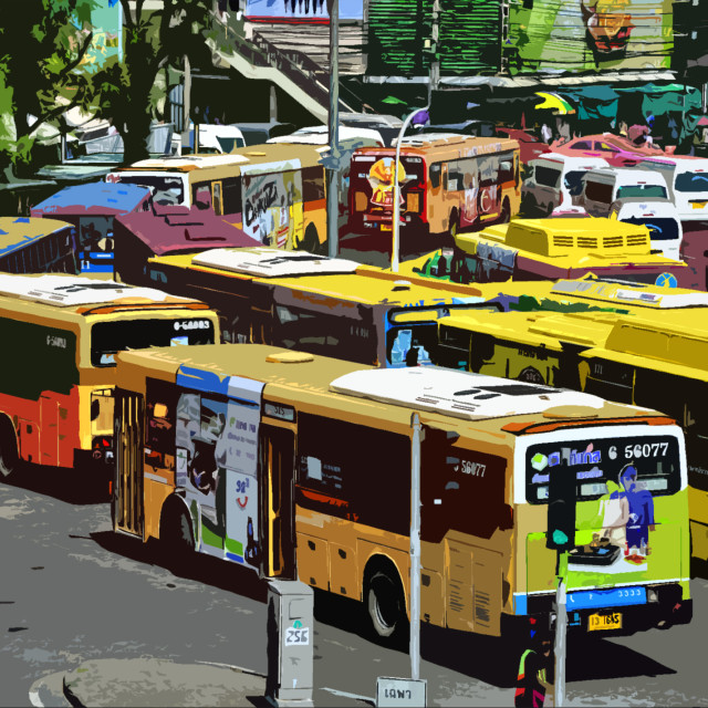 """Buses at Victory Monument"" stock image"