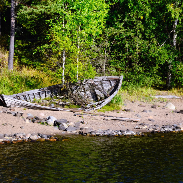 """Northern Forest and Old Boat on a Lake Shore"" stock image"