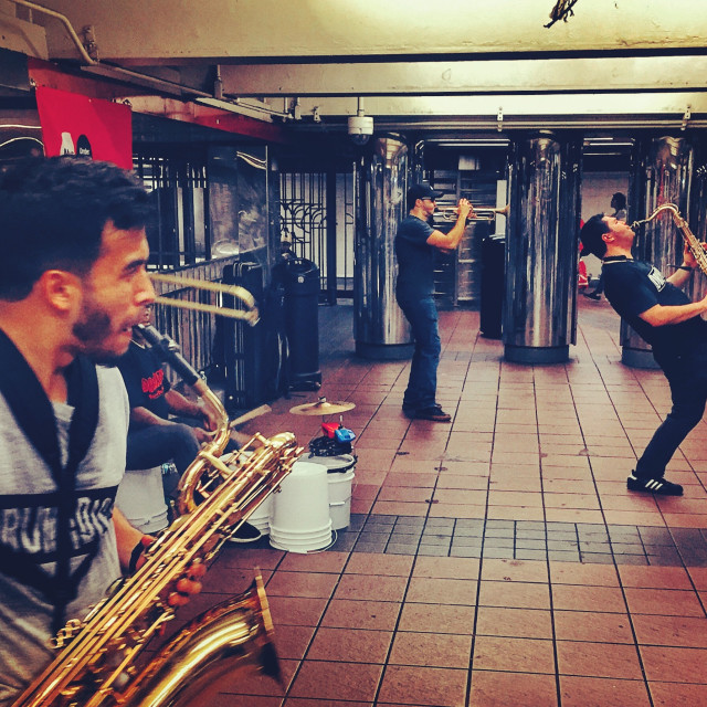 """Subway brass band, New York"" stock image"