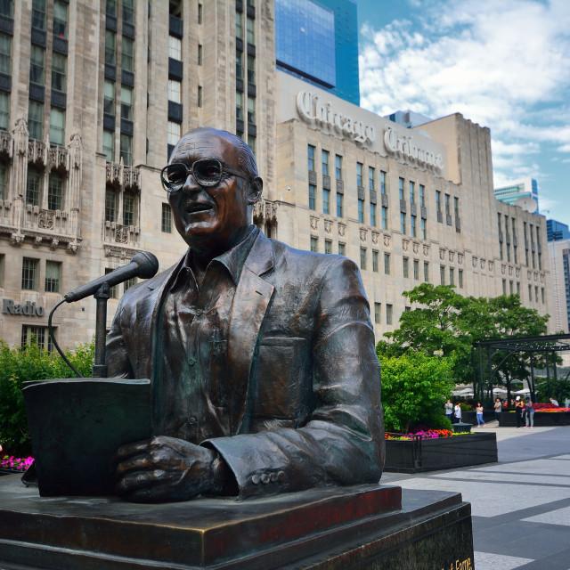 """Statue of legendary Chicago broadcaster Jack Brickhouse."" stock image"