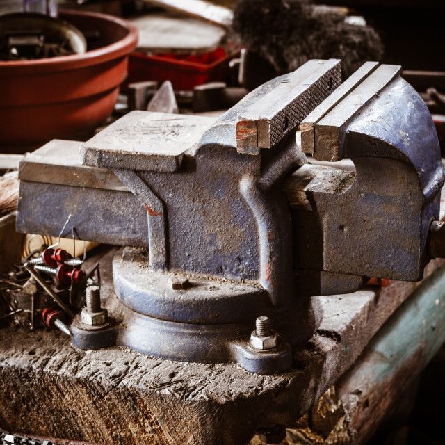 """Vintage holder in old workshop vignette picture"" stock image"