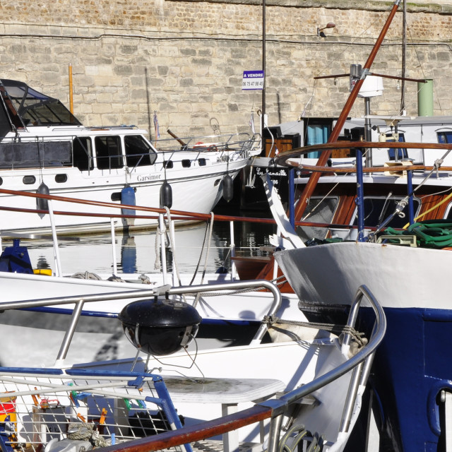 """Boats moored at Port de l'Arsenal"" stock image"