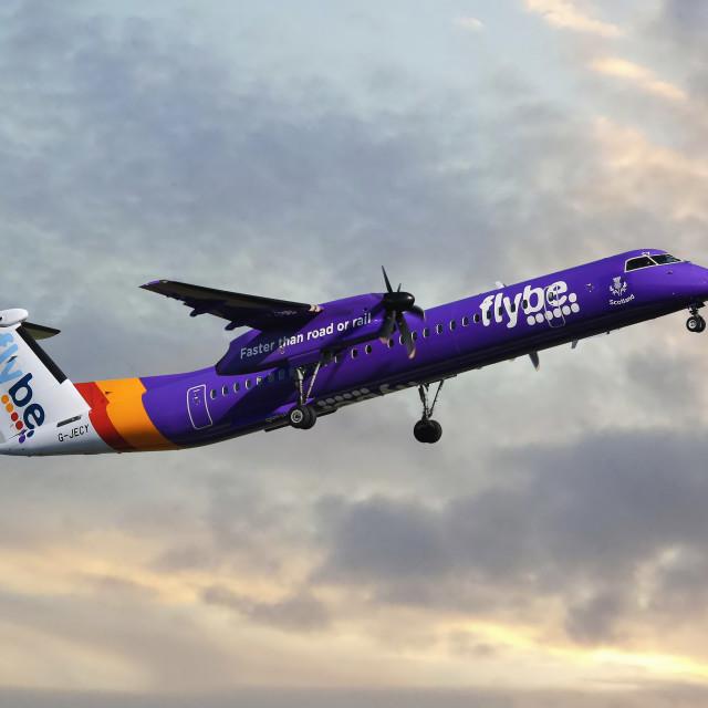 """Flybe Bombardier Dash 8 Q400"" stock image"