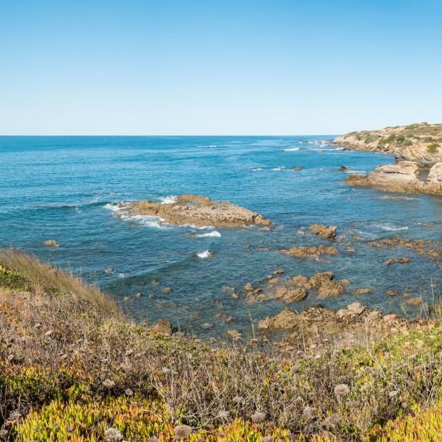 """Cliffs on the beach Vila Nova de Milfontes"" stock image"