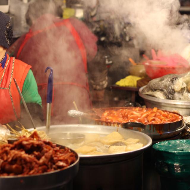 """""""Seoul Food Market Lady"""" stock image"""