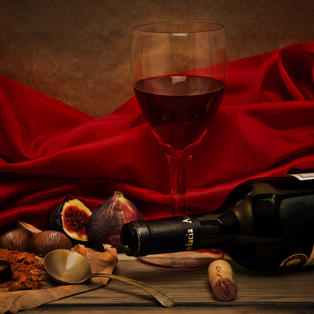 """Red Wine and Chocolate"" stock image"