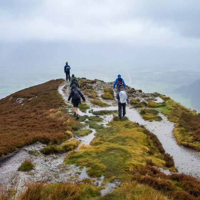 """""""Hiking in the Lake District"""" stock image"""