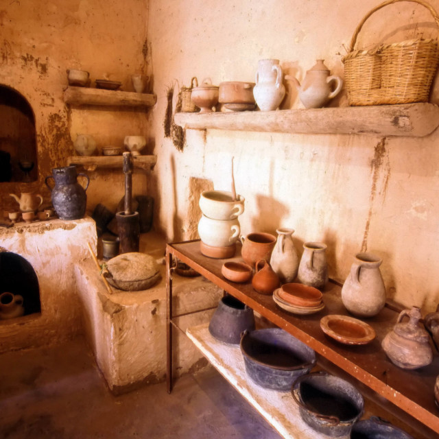 """""""Traditional kitchen in a Museum in the old quarter of Tozeur in Tunisia, North Africa"""" stock image"""