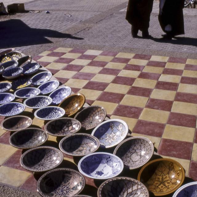"""Display of Ceramics for sale, The Medina, Tataouine, Tunisia"" stock image"