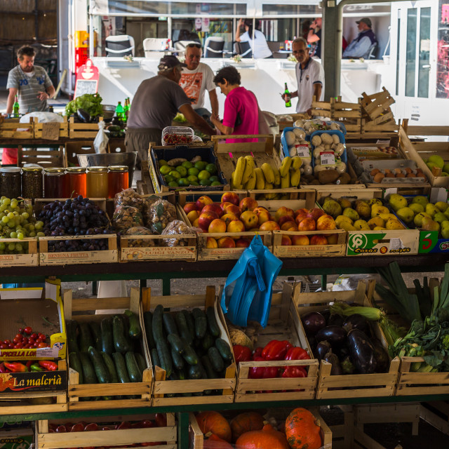 """Colourful market in Hvar Town"" stock image"