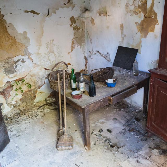 """Peaking inside a building in a Croatian ghost village"" stock image"