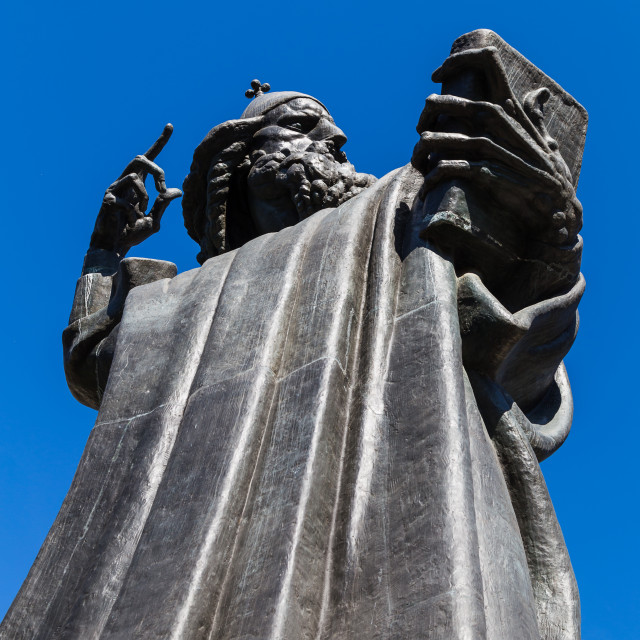 """""""Looking up at the giant statue of Marko Marulic"""" stock image"""
