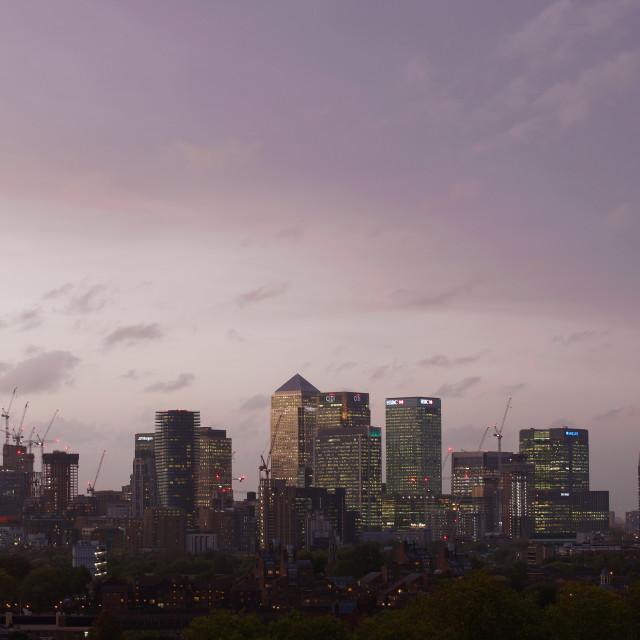 """Canary Wharf at Dusk, London #1"" stock image"