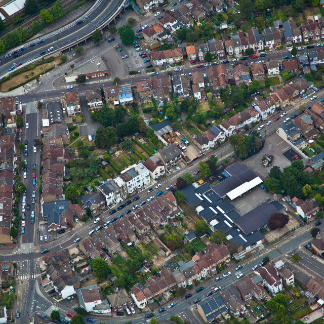 """Ariel view of South Woodford, 2012"" stock image"