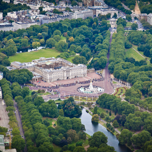 """Ariel View of Buckingham Palace"" stock image"