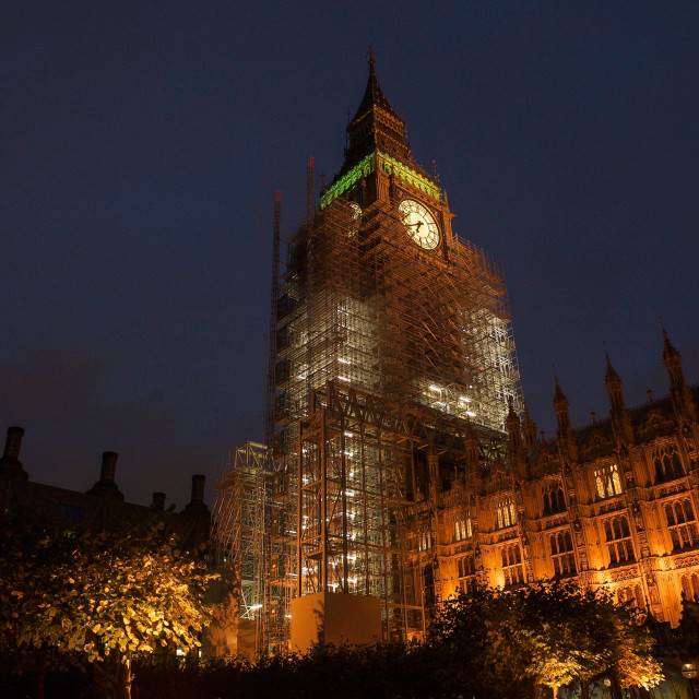 """""""Big Ben / Elizabeth Tower covered with scaffolding #7"""" stock image"""