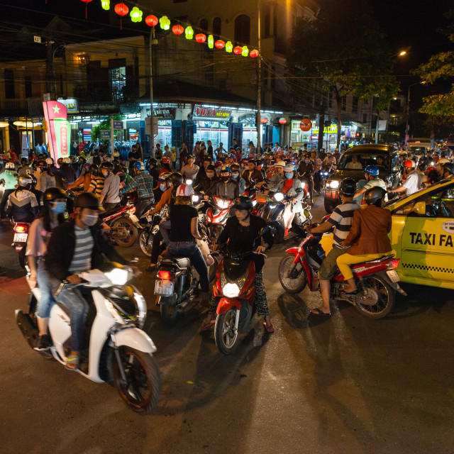 """Totally jammed crossroad in Hoi An, Vietnam"" stock image"