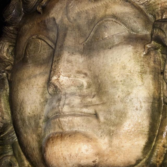 """Medusa head sculpture, Basilica Cistern, Istanbul, Turkey"" stock image"