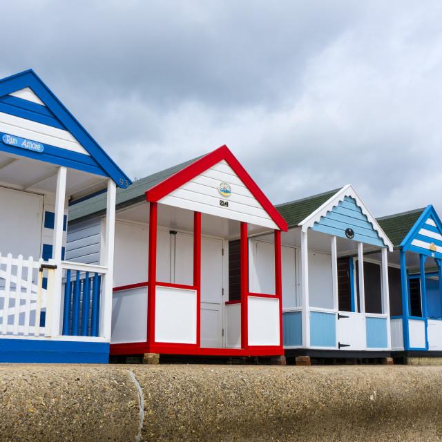 """Southwold Beach Huts - Diagonal Panorama."" stock image"