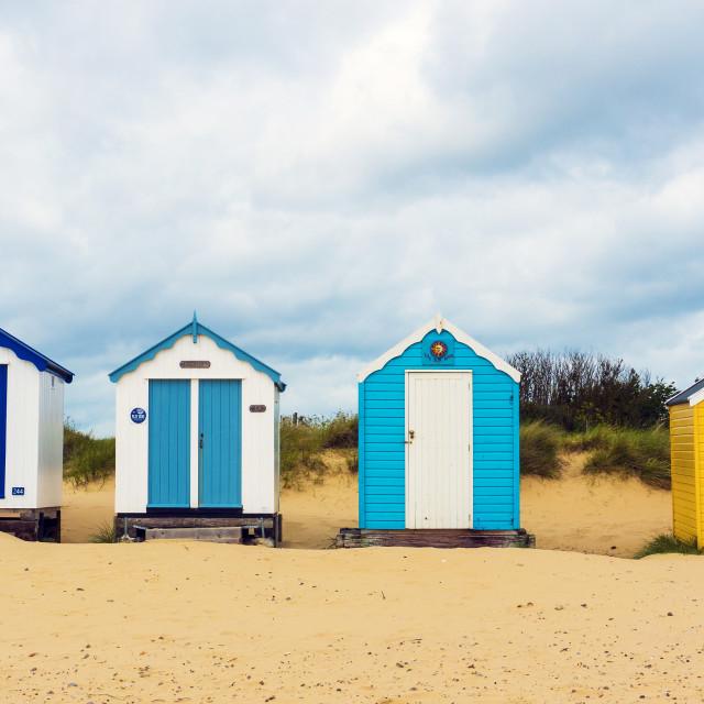 """Famous Southwold Beach Huts - Panorama."" stock image"