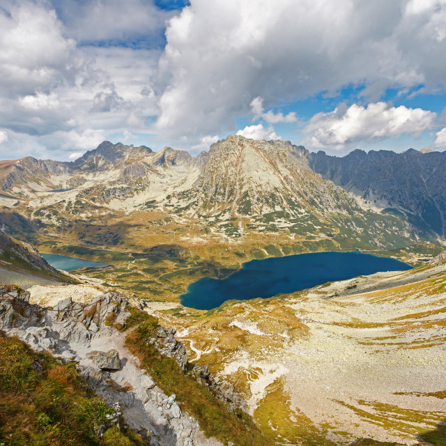 """Aerial view of Big Pond ""Wielki Staw"" in Five Polish Ponds Valley ""Dolina Pieciu Stawow Polskich"", Tatry mountains, Poland"" stock image"