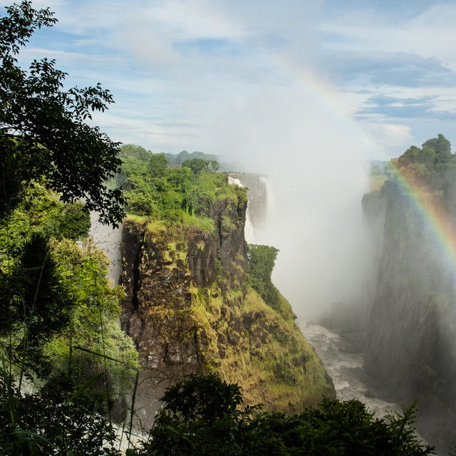 """Looking down the mouth of Victoria Falls"" stock image"