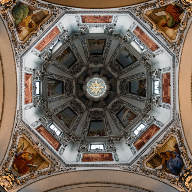 """Interior view of the Cathedral of Salzburg"" stock image"