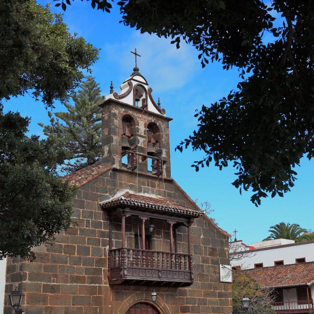 """""""La Palma, Canary Island, Santuario Nuestra Senora de Las Nieves near the city..."""" stock image"""