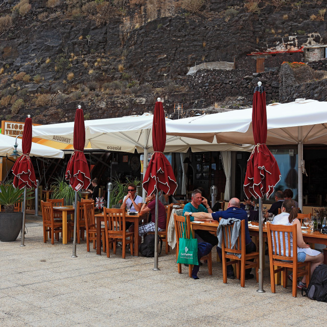 """La Palma, Canary Island, restaurant and kiosks in the fishing port of Puerto..."" stock image"