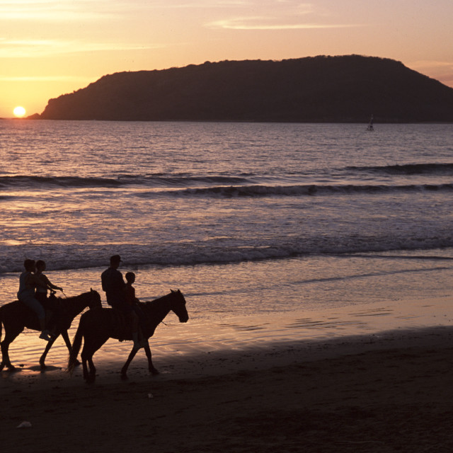 """Horseback riders on beach, Sayulita, Mexico"" stock image"