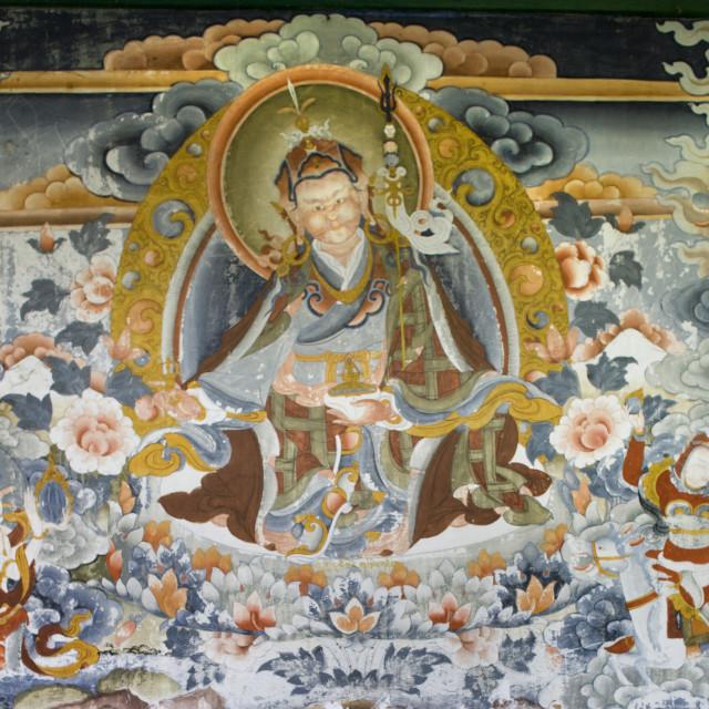"""""""Painting of Padmasambhava, Kora Chorten, Bhutan Bhutan"""" stock image"""