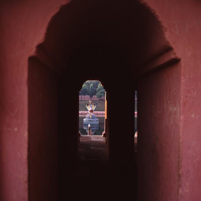 """Muchhalinda pond Bodhgaya, India"" stock image"